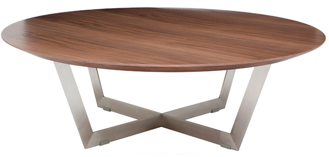 Dixon Coffee Table - Round American Walnut veneer, MDF core construction, brushed stainless steel base.44
