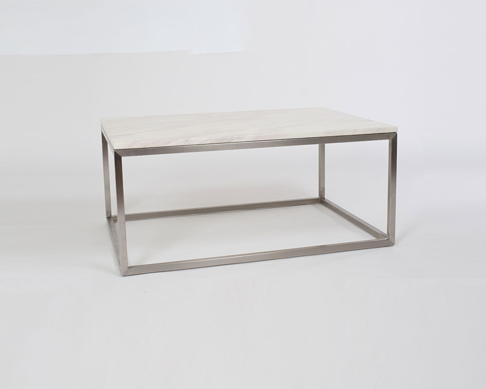 Milan Coffee Table - Modern and clean style. White Carrera Marble top with brushed stainless steel base. 34