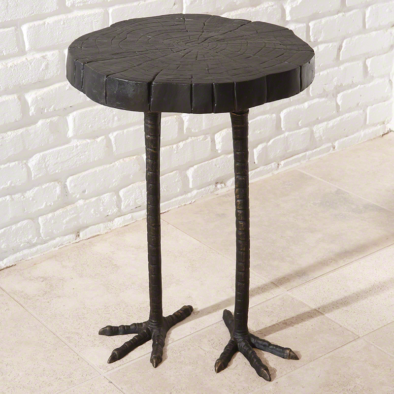 Ostrich Table - Iron ostrich legs and a wood cut faux bois top make this little side table a whimsical conversation piece. 16