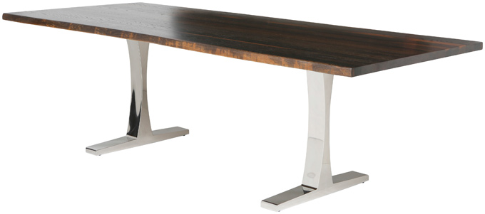 Toulose dining table - Seared oak top and polished stainless steel base. Available in two sizes: 78 x 40 x 29