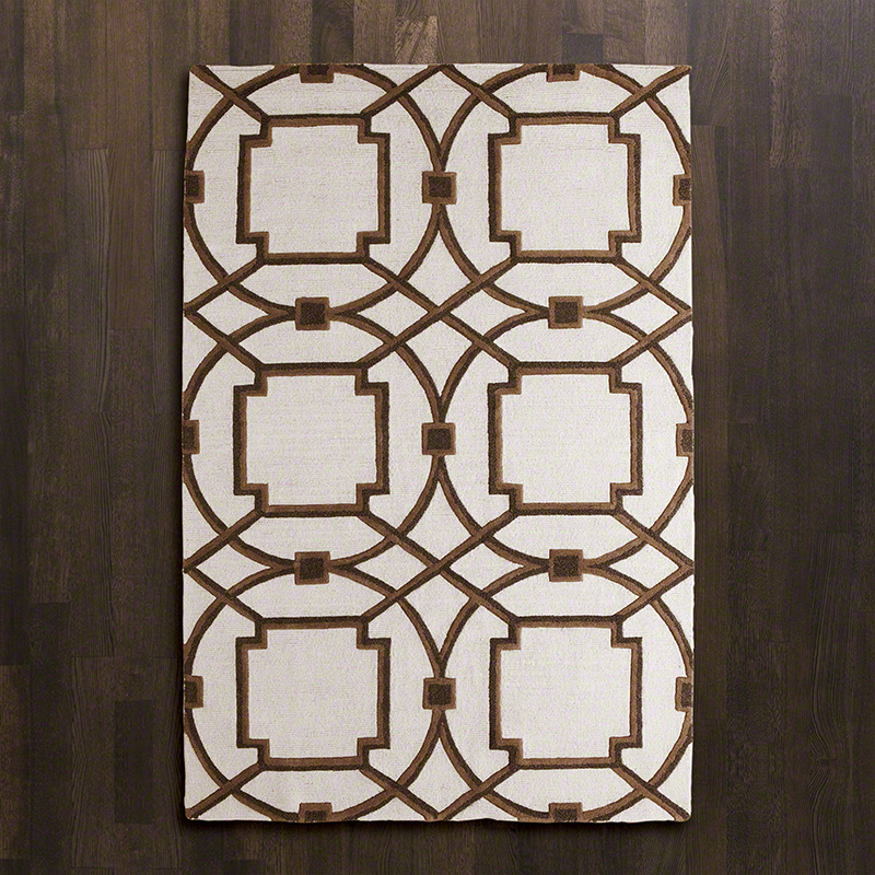 Arabesque Rug - Hand-tufted, hand-dyed in custom colors to work in today's interiors. The designs are created by our in-house design team and are exclusive to Global Views. Available in Grey, Mocha, Aqua, Coral. Sizes : 9'x12' /  8'x10' / 6'x9'  /  5'x8'