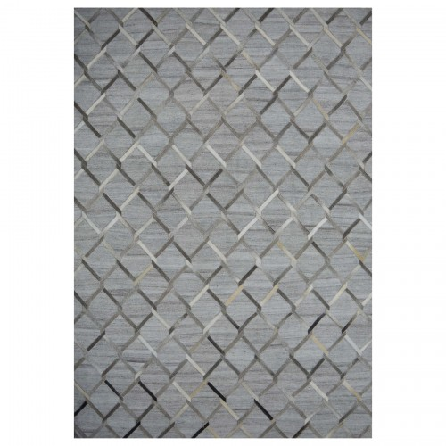 Brodway Rug - Handwoven - Wool, soft viscose & cowhide - Silver . Two Sizes: 6' x 8' / 8' x 10'