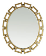 Square Link Mirror - Christopher Guy Mirror. Hand Carved Mahogany, unique piece, 20th C gold and Black Satin. 31