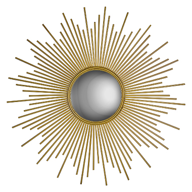 Sunburst Mirror - Rays of gold extend from a round center mirror forming our Sunburst Mirror. The glowing piece makes a grand statement on any wall. Available in Two sizes: 40
