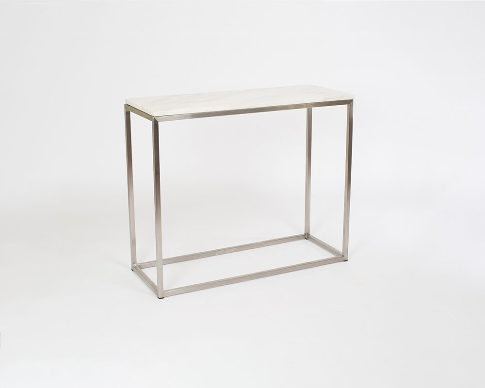 Milan Console Table - Carrera Marble top and brushed stainless steel frame. 36