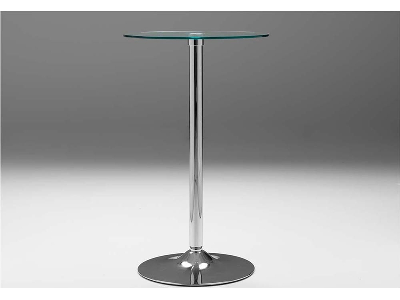 Blade Bar Table -  Perfect for small spaces with its simple metal trumpet base and tempered glass top. You can easily enjoy your morning coffee looking out over the vista of your choice. Available in 24, 28 and 32
