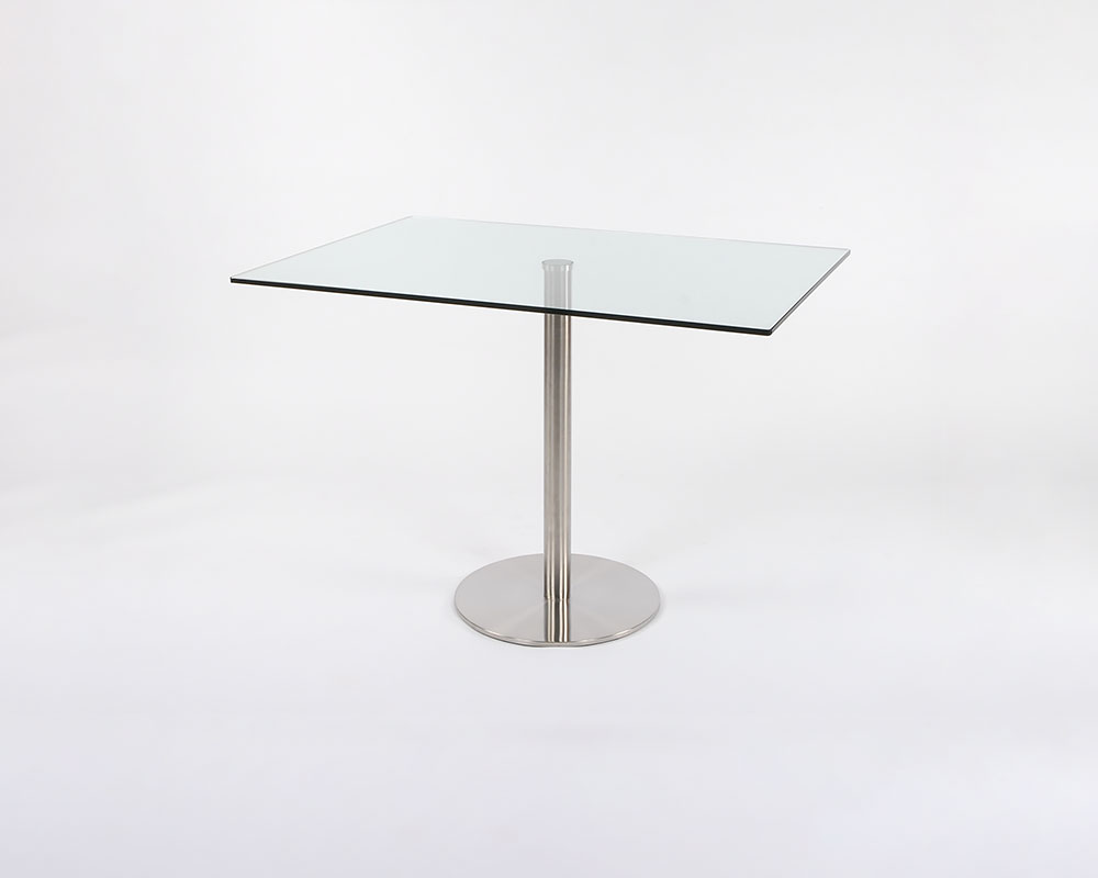 Rect Lady Dining Tbl - Rectangular dining table Stainless steel base, tempered glass top. 42