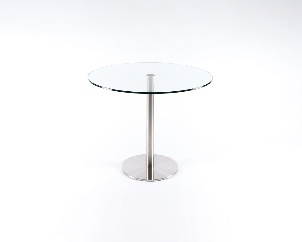 Lady Round Table - Stainless Steel Base, glass top. Available in 24