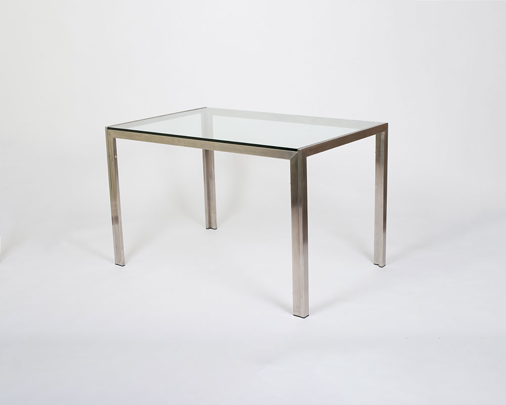 "Chad Dining Table - Polish stainless Steel, glass top or marble. L48""x W31""x H30""Available in: 36″H Counter, 40″H Barindoors/outdoors"