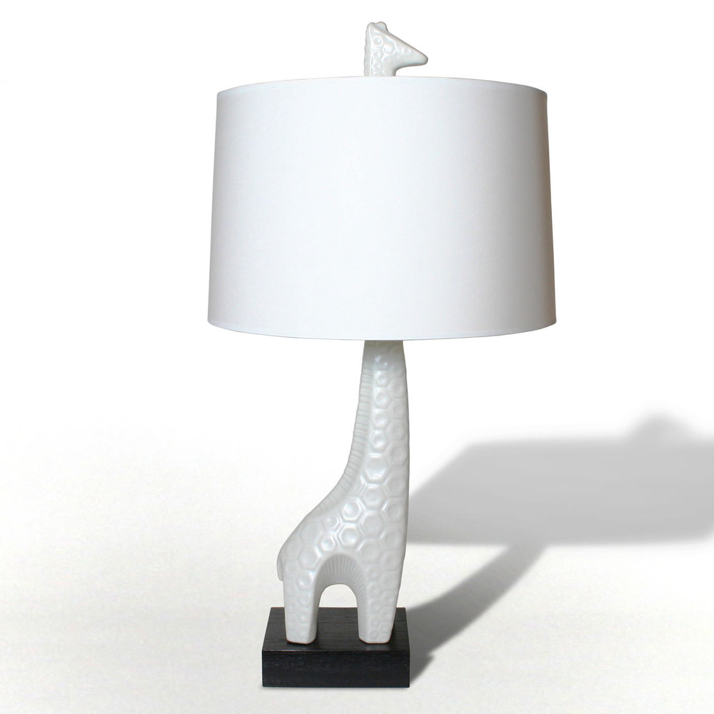 Giraffe Lamp - Jonathan Adler Giraffe Lamp, Porcelain body, wooden base.