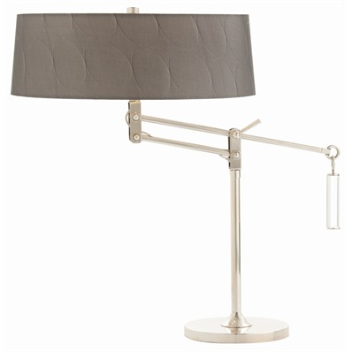 Jacquelin Lamp - Double socket adjustable swing arm desk lamp with metal base and body in a nickel finish. Topped with a gray gunmetal colored drum shade detailed with circular pattern embossing and pewter lining.