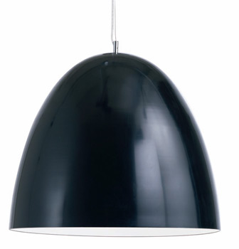 Dome Ceiling Lamp - Metal Shade black and inside white. Available in 18