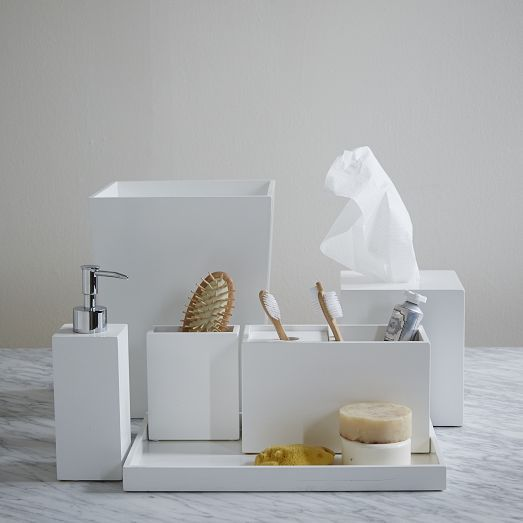Trays and Canister - We offer a great selection of Marble trays, acrylic and lacquered products for the bathroom.