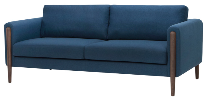 Steen Sofa - Three seater sofa available in sand, lagoon blue and steel grey, frame, ash wood stained walnut.size: 81 x 33 x 32