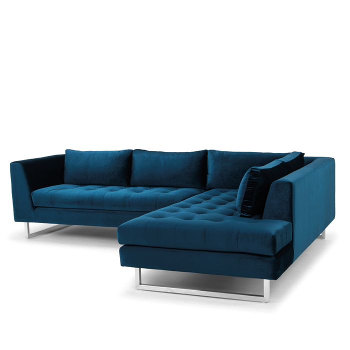 Janis Sectional - Available in midnight blue, shale grey, dark grey, and lagoon blue, brushed stainless steel frame. Size 104 x 80 x 30
