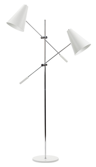 "Tivat 2 Floor Lamp  - Adjustable painted metal shade: ø 8¼ x 8¾"" takes 2 E26 medium base 100 watt bulbs bulbs not included chrome steel arms and stem fi x ed angle, adjustable height arms chrome steel stem painted metal base: ø 12 x ¾"" cord length: 82¾"" in line on/off s witchAvailable in white or Black and with one Arm"