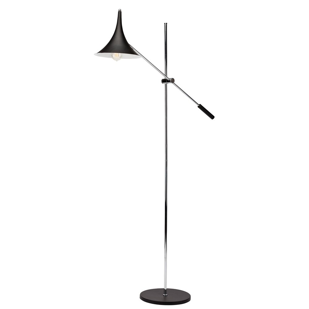 "Parma Floor Lamp - Adjustable painted metal shade: ø 10 x 10"" takes 1 E26 medium base 100 watt bulb bulb not included chrome steel arm and stem fixed angle, adjustable height arm painted metal base: ø 12 x ¾"" cord length: 82¾"" in line on/o switchavailable in white or black and two arm as the Trivat 2"