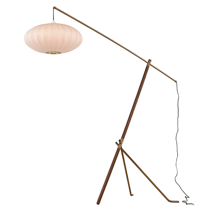 Osaka Floor Lamp - Walnut frame and handwoven shade.80.8