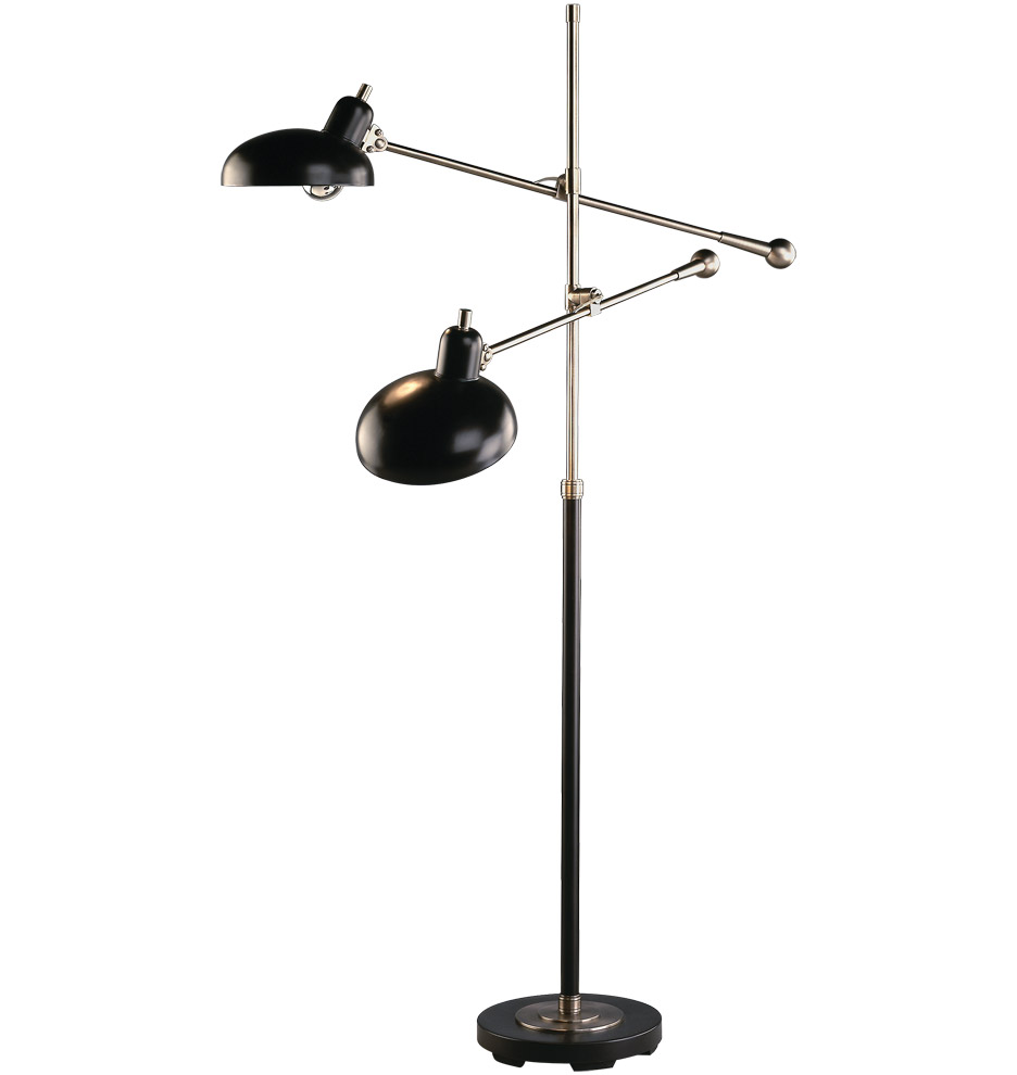 Bruno Two Arm  - Floor Lamp with two metal shades adjustable, modern design.