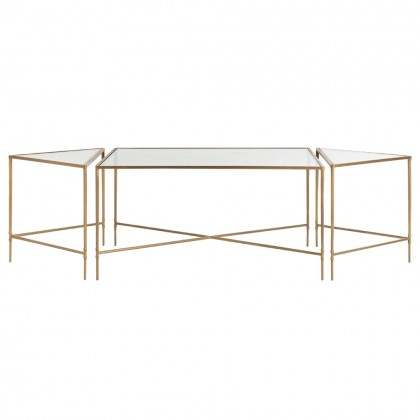 Alice Coffee Table - You will love the versatility of this antique brass-plated iron and glass design. The table is made up of 3 sections that can be moved throughout a space or styled together. Size is H: 18