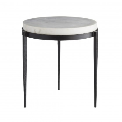 Kelsie Side Table - We love the yin and yang on this transitional side table. Hand-forged black iron legs are delicately tapered creating the perfect base for the chunky white marble top. Also available as a cocktail table (4392). Marble may varySize 16