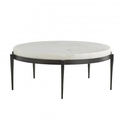 Kelsie Cocktail Table - We love the yin and yang on this transitional cocktail table. Hand-forged black iron legs are delicately tapered creating the perfect base for the chunky white marble top. Also available as a side table (4391). Marble may vary.34