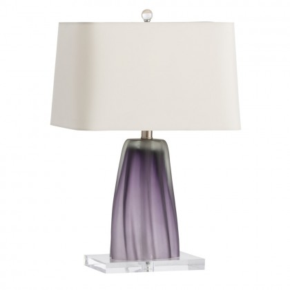 Taylor Table Lamp - The subtle vertical stripes lining this soft pastel-colored violet glass lamp create a unique finish that varies piece to piece. The rectangle microfiber shades keeps the frosted lamp symmetric by matching its clear acrylic base.DIMENSIONS:H: 22.5
