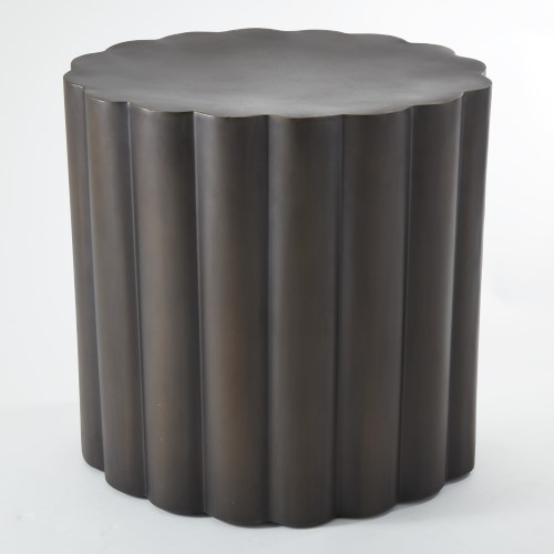 Fluted Oval Side Table - Made of stainless steel with a dark bronze finish with protective lacquer coating.size 18.75