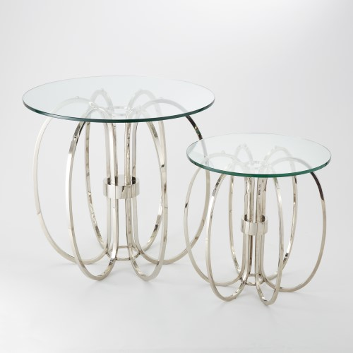 Oval Rings Side Table - Rings held together by a single band compose the base of our Oval Ring Table. The polished nickel finish absolutely gleams and the round clear glass top is light and airy.Sm: 20