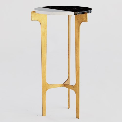 Maxwell Side Table - A streamlined yin and yang design adds striking contrast to this luxe cocktail table. Dramatic gold-leaf legs bolster the stunning two-toned slab tabletop, while sleek supports intersect in a fixed design for a simple yet sturdy brace.13