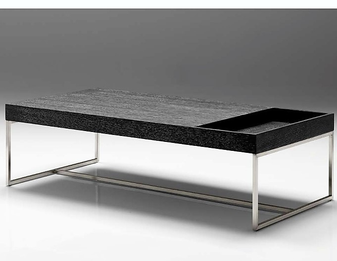 Riu Coffee Table - Modern Charcoal Oak Table with storage on the side for magazines or remote controls. Base made of brushed stainless steel.Size : 48