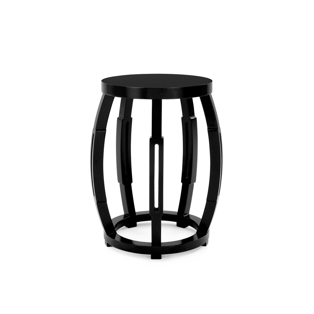 Taboret Stool/Side Table - This drum-shaped cylinder has five convex ribs with pierced lozenges that catch light and shadow. Use it as a portable stool or side tableAvailable in white or black.20