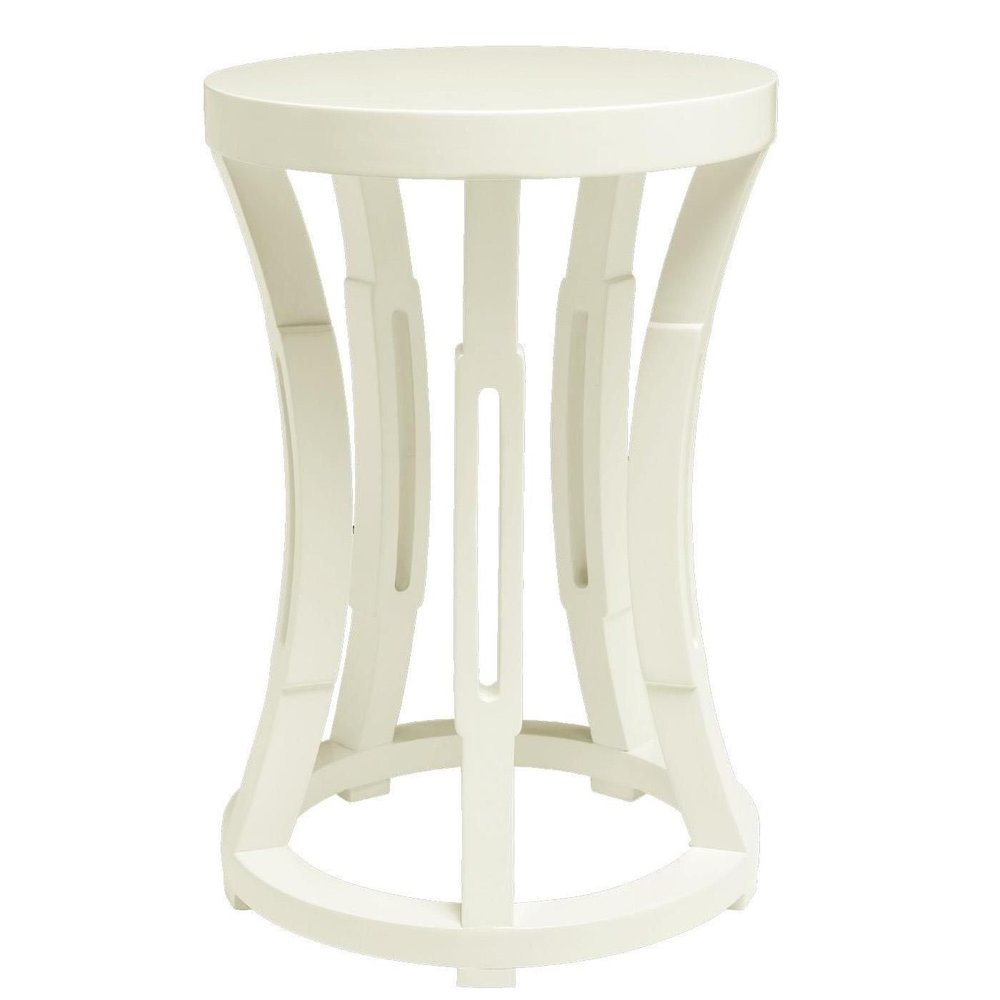 Hourglass Stool/Side Table - The design is a cylinder of five concave ribs that with pierced lozenges that catch light and shadow on the great lacquer colours. Use it as a portable stool or side tableAvailable in white only20