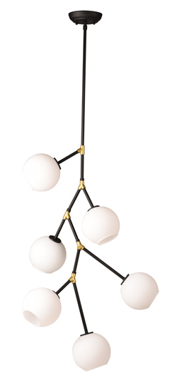 "Atom 6 Pendant - matte black canopy: 5 x 5 x 1""overall height adjustable to max 120½""takes 6 E12 small base 40W bulbbulbs not includedAlso available in 3, 5, 8, 9, or 10 bulbs"