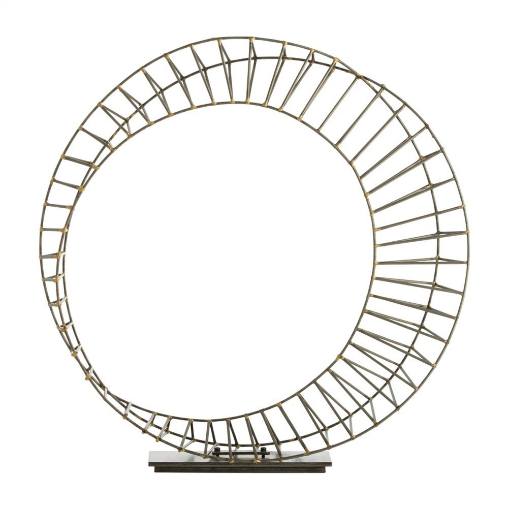 Neo Sculpture - This wheel-like sculpture is hand made of thin natural iron welded together with brass. It is then mounted on a natural iron rectangular base. A great sculpture for a console or credenza.28.5