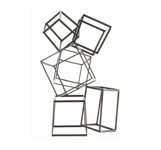 Mondrian Sculpture - Stacked open iron cubes create graphic sculpture.31.5