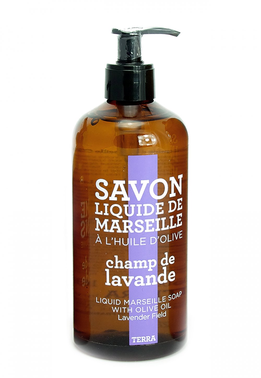 Savon de Marseille - Saponified in a cauldron according  to tradition, as does its ancestor, the authentic cube from Marseille, this liquid soap is made from olive and coconut oils and naturally glycerined. Free of artificial colouring and free of animal fats - Parabin free. Available scents: Lemon Verbena, Lavender Field, Candied Orange, and Fig Leaf