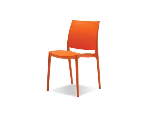 Vata Dining Chair  - The VATA chair is made from a polypropylene material that is mold injected in four fashion colours. They stack and ship in fours and are stylish enough in any indoor setting but are also perfect as an outdoor chair. Incredibly comfortable, they are UV and mold resistant and can be left out in coldest of Canadian winters and the hottest of Palm Springs summers.Available colours: Orange, White, Black, and Grey
