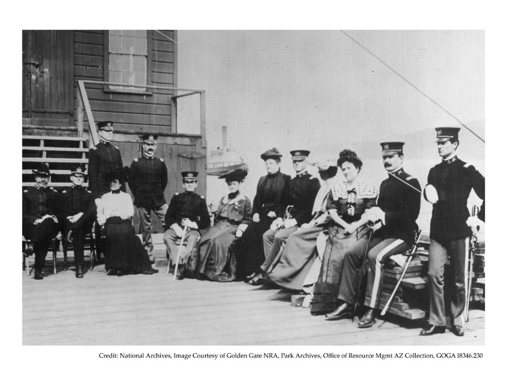 Military officers and ladies on the dock at Alcatraz, c. 1902