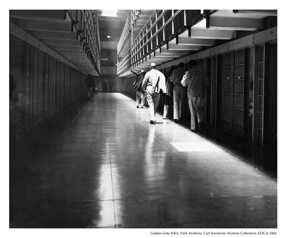 Alcatraz Inmates Walking Down the Cell Block