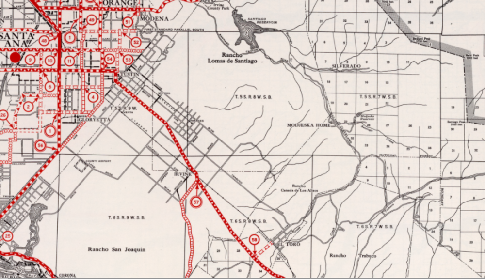 Map of rancho borders and more modern street overlays