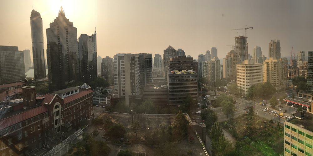 View from his room, the muggy/smokey Vancouver