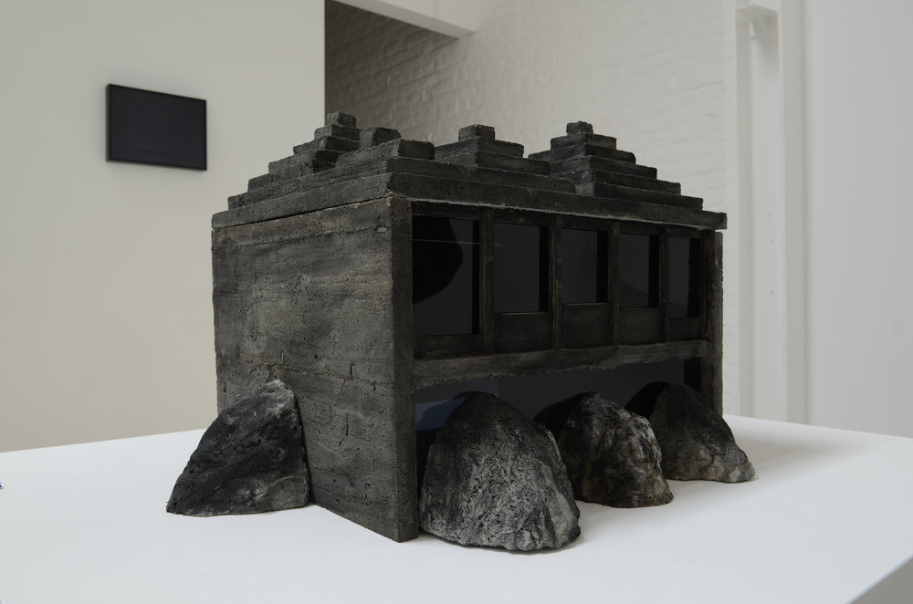 Jean-Pascal Flavien, night house at day time, 2011, Tinted concrete and wood, dark acrylic glass, 40 x 58 x 47 cm