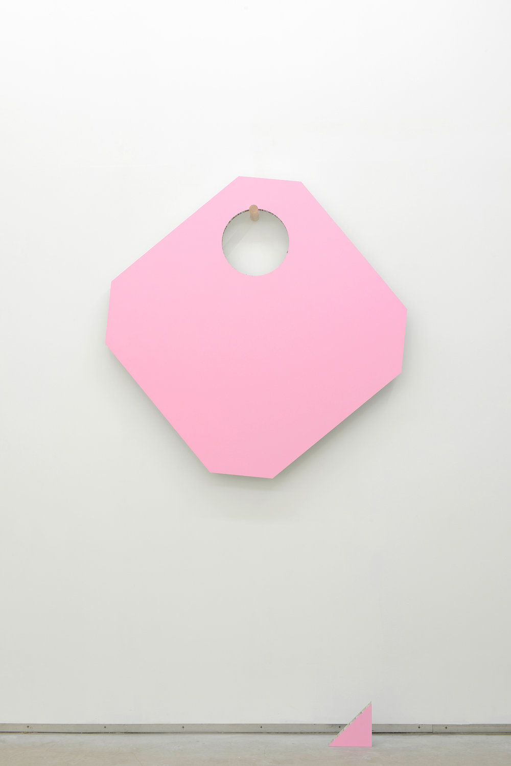 Jean-Pascal Flavien,  statement house - Rose! There will be so much room , 2014, painted aluminium, painted cardboard, wood, 113 x 113 cm