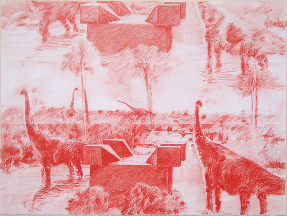 Jean-Pascal Flavien,  la vue (2),  dinosaur drawings, 2008, red pencil on paper, 87,5 x 65,5 cm