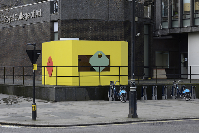 Jean-Pascal Flavien,  statement house (temporary title) , 2015, mixed media, 2,7 x 4,5 x 4,5 m, RCA, Kensington Road, London, 2,6 × 4,5 × 4,5 m