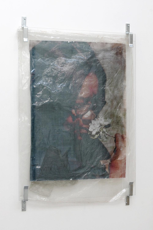 Valerie Snobeck,  Martha's Flower,  2013, Partially removed mirror, door barricade brackets, peeled prints, burlap, and U.S. emergency blanket on plastic, 92 x 139 cm