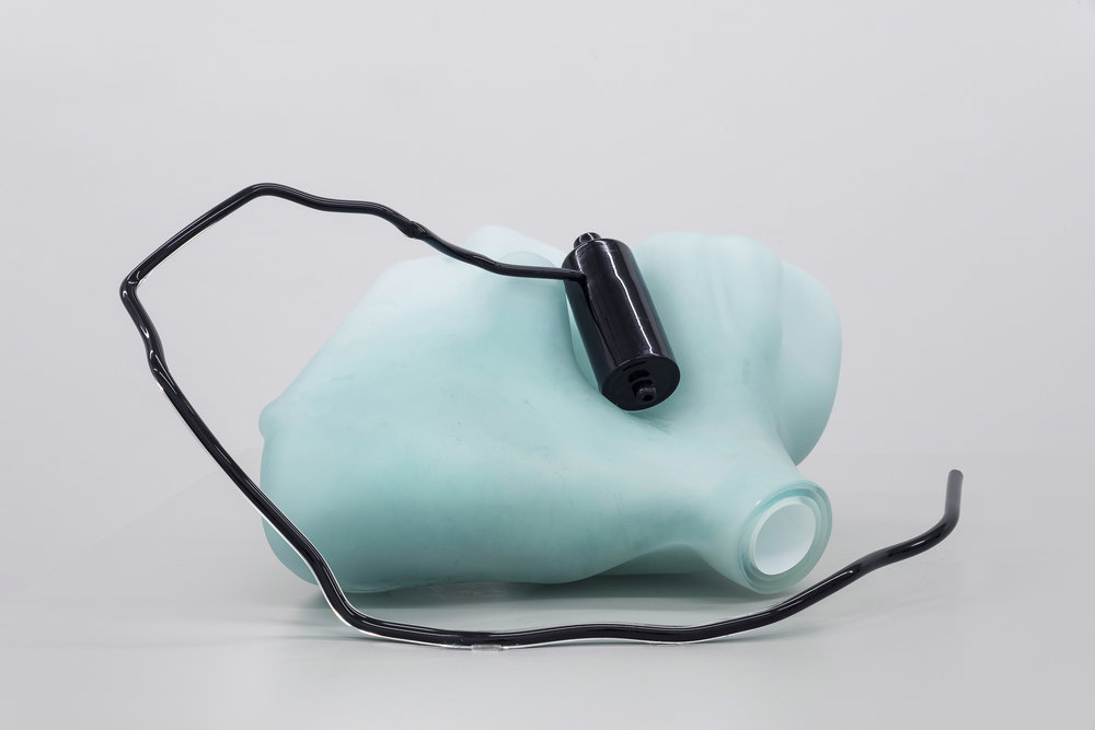 Valerie Snobeck,  Reservoirs with Stains, Dust, and Burns (Wedges and Jams) , 2015, mold blown and hot sculpted glass , 7 x 12 x 14.5 inches