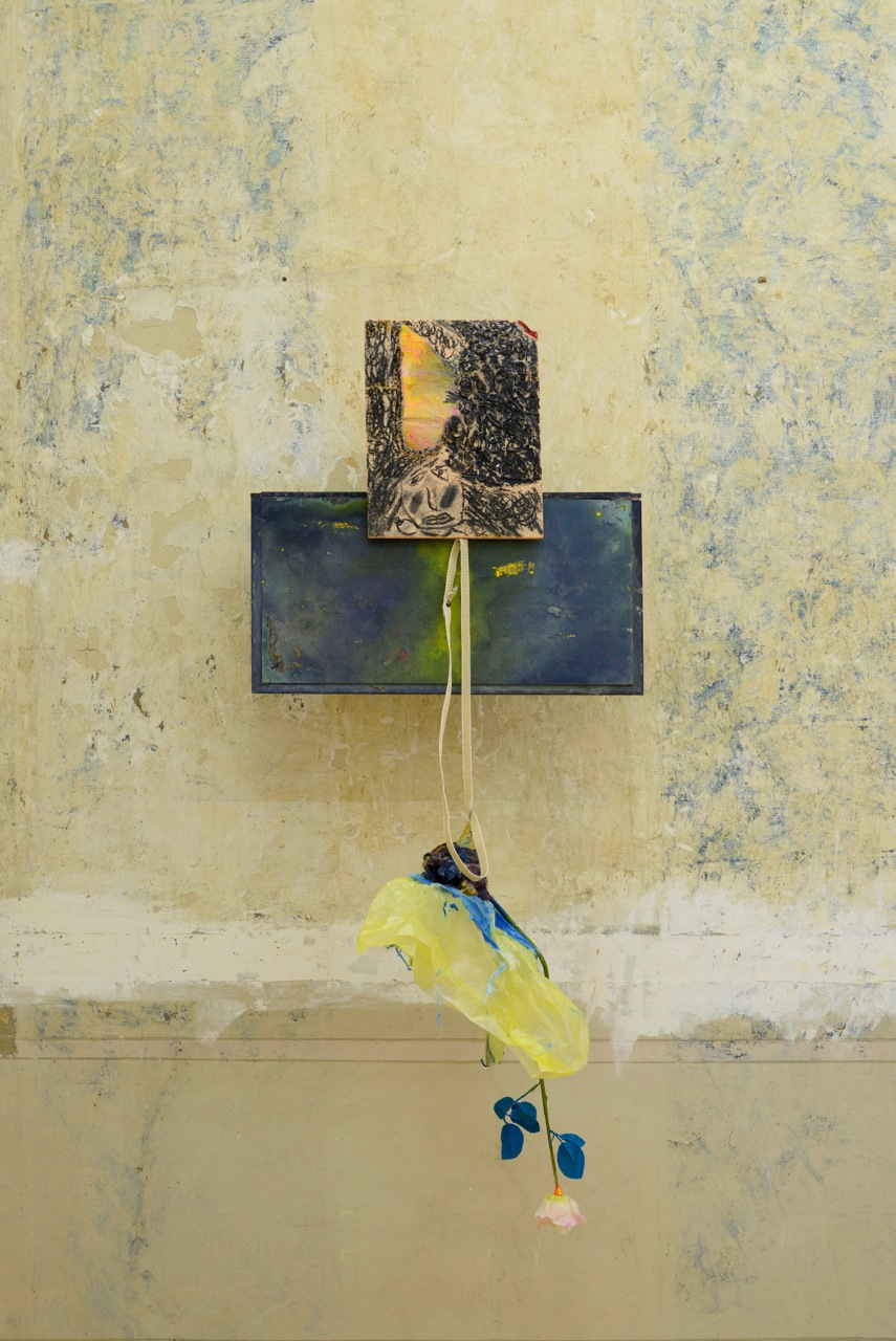 Henrik Olai Kaarstein,  Darling / People are so in Love Nowadays , 2013, acrylic sheets, silicone, acrylic paint, charcoal, fabric, fibreboard, rope, glue, pins, curtain tassel, painted silk flower, plastic bag, 125 x 61 x 60 cm (approx)