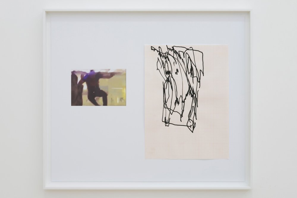 Nick Bastis,  Elbows drawings (Trees),  2014, acrylic on graph paper, pencil and archival prints, 66cmx55cm